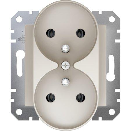 Zásuvka 2x2P+PE do rámečkového systému, krémová Schneider Electric Asfora EPH9810223