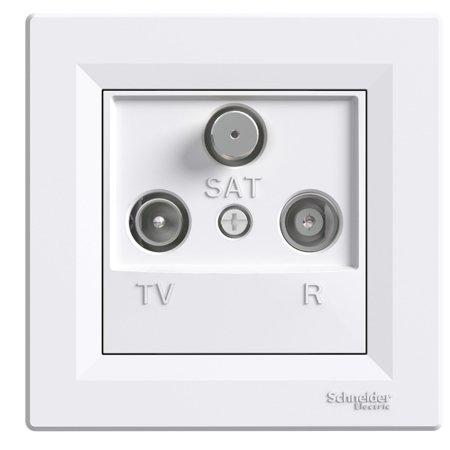 Zásuvka R-TV-SAT průchozí (4dB) s rámečkem, bílá Schneider Electric Asfora EPH3500221