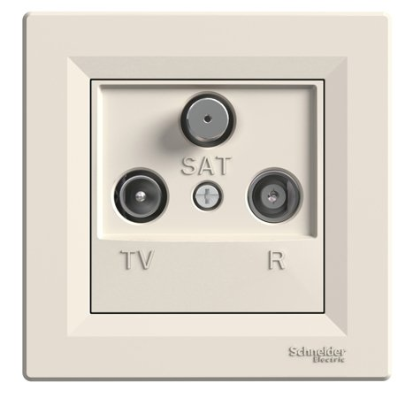 Zásuvka R-TV-SAT průchozí (8dB) s rámečkem, krémová Schneider Electric Asfora EPH3500323