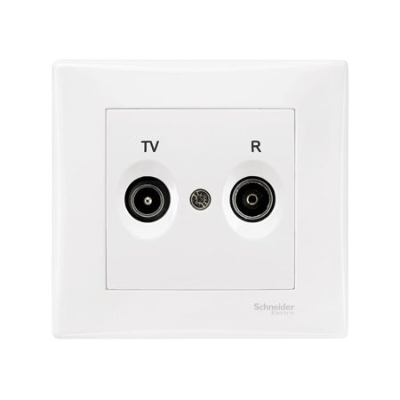 Zásuvka R/TV průchozí bílá s rámečkem Sedna SDN3391821 Schneider Electric
