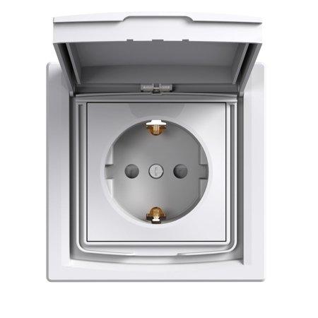 Zásuvka SCHUKO IP44 s rámečkem (1-násobná), bílá Schneider Electric Asfora EPH3100321
