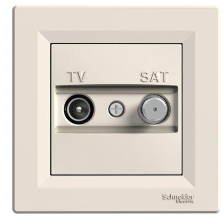 Zásuvka TV-SAT průchozí (4dB) s rámečkem, krémová Schneider Electric Asfora EPH3400223