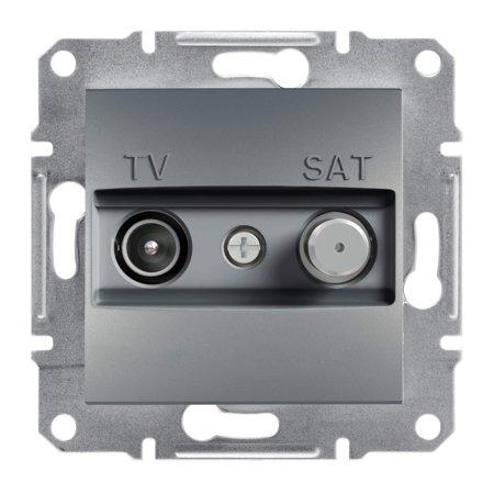 Zásuvka TV-SAT průchozí (8dB) bez rámečku, ocel Schneider Electric Asfora EPH3400362