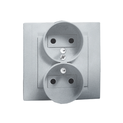 Zásuvka dvojitá s uzemněním s dětskou ochranou, šroubové koncovky, hliník (kov) Kontakt Simon 1591451-026
