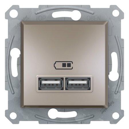 Zásuvka nabíječky USB 2.1A bez rámečku, hnědá Schneider Electric Asfora EPH2700269