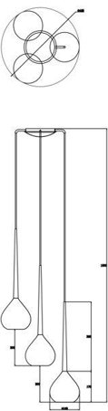 Závěsná lampa stříbrná 3xE14 Zuma Line Libra Pendant MD2128A-3S